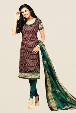 Salwar Studio Burgundy & Green Floral Print Dress Material
