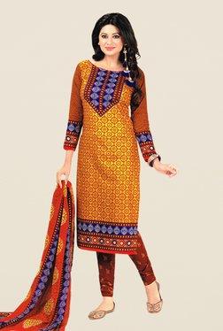 Salwar Studio Yellow & Red Floral Print Dress Material