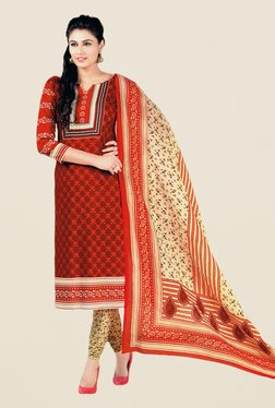 Salwar Studio Red & Beige Floral Print Dress Material