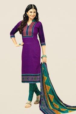Salwar Studio Purple & Green Floral Print Dress Material