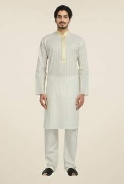 Manyavar Off White Striped Kurta & Pyjama Set