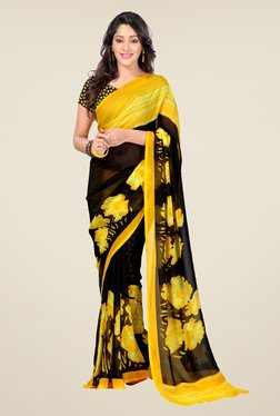Triveni Black & Yellow Floral Print Faux Georgette Saree