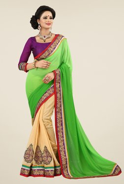 Triveni Beige & Green Embroidered Faux Georgette Saree
