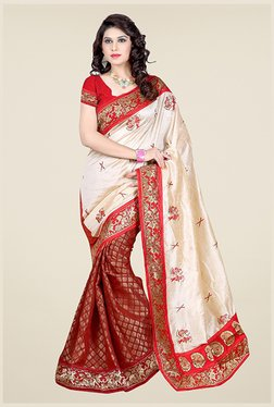 Triveni Maroon & Beige Printed Art Silk Viscose Saree