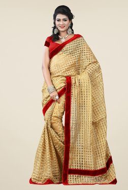 Triveni Beige Printed Cotton Net Saree