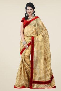 Triveni Beige Printed Cotton Net Saree