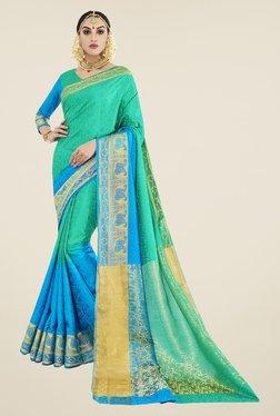 Triveni Green & Blue Printed Banarasi Silk Saree