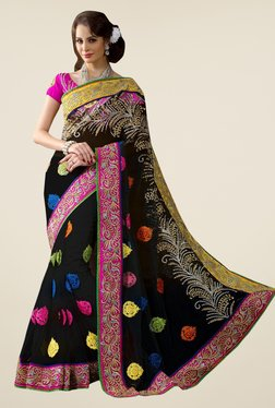 Triveni Black Embroidered Net Saree