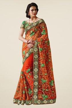 Triveni Orange Embroidered Net Saree