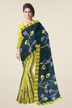 Triveni Yellow & Green Floral Print Faux Georgette Saree