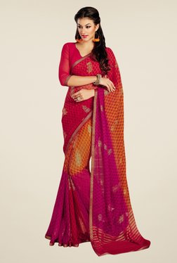 Triveni Multicolor Printed Chiffon Saree
