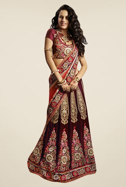 Triveni Maroon & Peach Embroidered Net Velvet Lehenga Saree