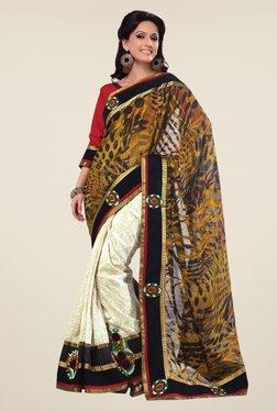 Triveni Cream & Black Embroidered Jacquard Art Silk Saree