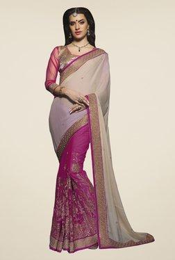 Triveni Purple & Beige Embroidered Silk Georgette Saree