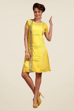Triveni Yellow Embroidered Round Neck Kurti