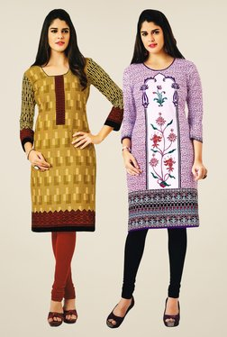 Salwar Studio Mustard & Purple Kurtis (Pack Of 2)