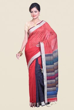 Bengal Handloom Printed Red Cotton Silk Saree