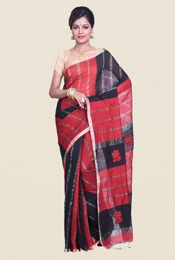 522cbcad7be278 Bengal Handloom Striped Red Cotton Silk Saree