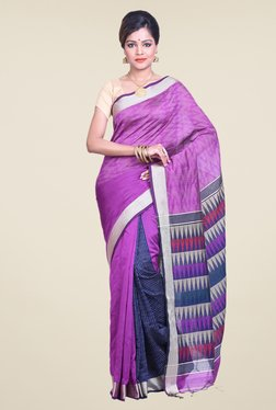 Bengal Handloom Printed Purple Cotton Silk Saree