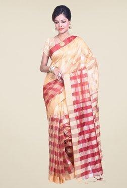 Bengal Handloom Beige & Red Cotton Silk Saree