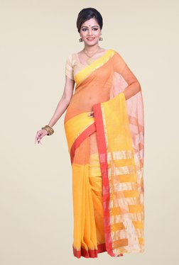 Bengal Handloom Yellow & Pink Cotton Silk Saree