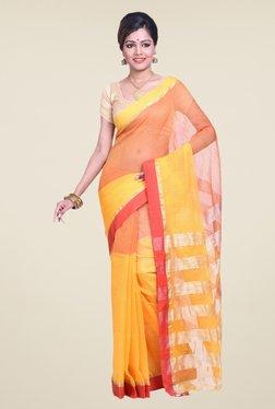 Bengal Handloom Yellow & Pink Cotton Silk Saree