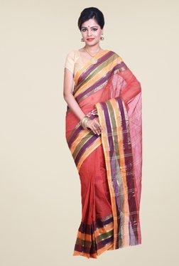 Bengal Handloom Red Cotton Silk Saree