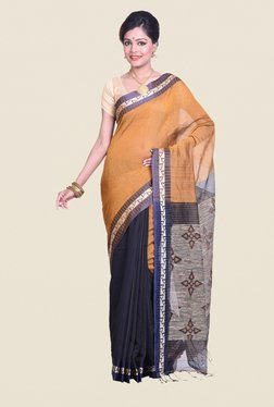 Bengal Handloom Gold Cotton Silk Ghicha Saree