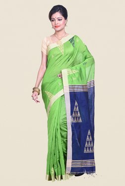 Bengal Handloom Green & Blue Cotton Silk Saree