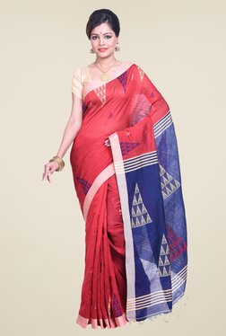 Bengal Handloom Red & Blue Cotton Silk Saree