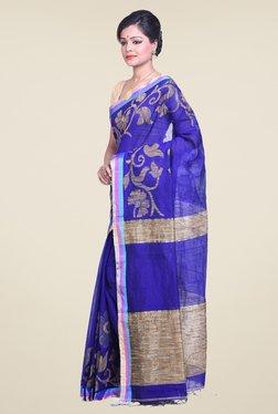 Bengal Handloom Floral Blue Cotton Silk Saree