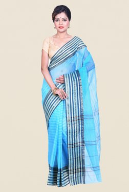 Bengal Handloom Striped Blue Cotton Silk Saree