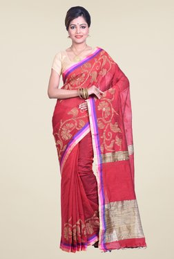 Bengal Handloom Floral Red Cotton Silk Saree