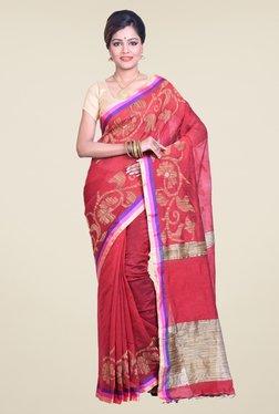 Bengal Handloom Floral Red Cotton Silk Saree