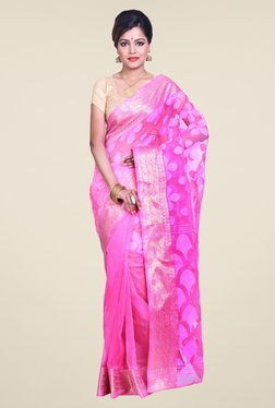 Bengal Handloom Pink Cotton Silk Jamdani Saree
