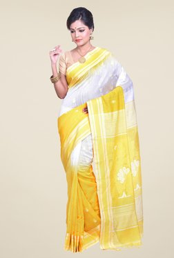 Bengal Handloom Yellow Cotton Silk Ikkat Saree