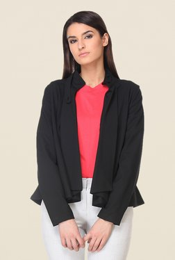 Kaaryah Black Solid Mandarin Collar Jacket