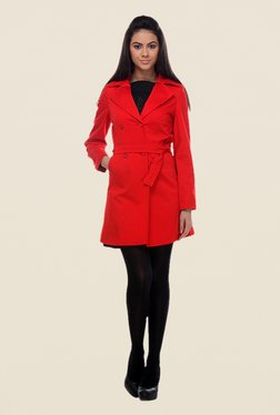 Kaaryah Red Hip Length Solid Jacket