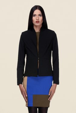 Kaaryah Black Solid Full Sleeves Relaxed Fit Jacket