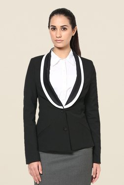 Kaaryah Black Solid Shawl Collar Blazer