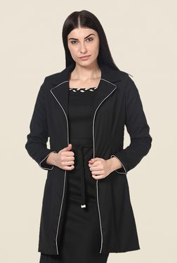 Kaaryah Black Solid Notched Lapel Jacket