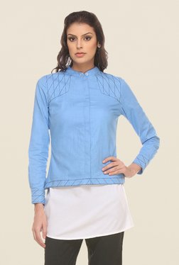 Kaaryah Blue Solid Full Sleeves Jacket