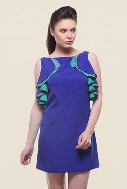 Kaaryah Blue Solid Boat Neck Dress