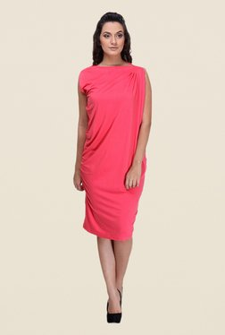 Kaaryah Coral Solid Boat Neck Dress
