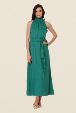 Kaaryah Teal Solid Halter Neck Dress
