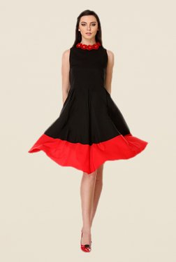 Kaaryah Black & Red Solid Dress