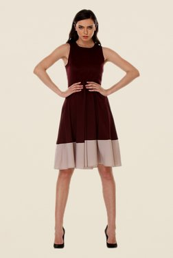 Kaaryah Wine & Beige Solid Dress