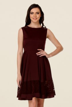 Kaaryah Wine Solid Relaxed Fit Dress