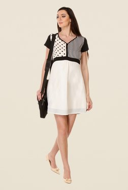Kaaryah White & Black Printed Dress