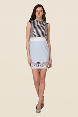 Kaaryah White & Light Blue Printed Dress
